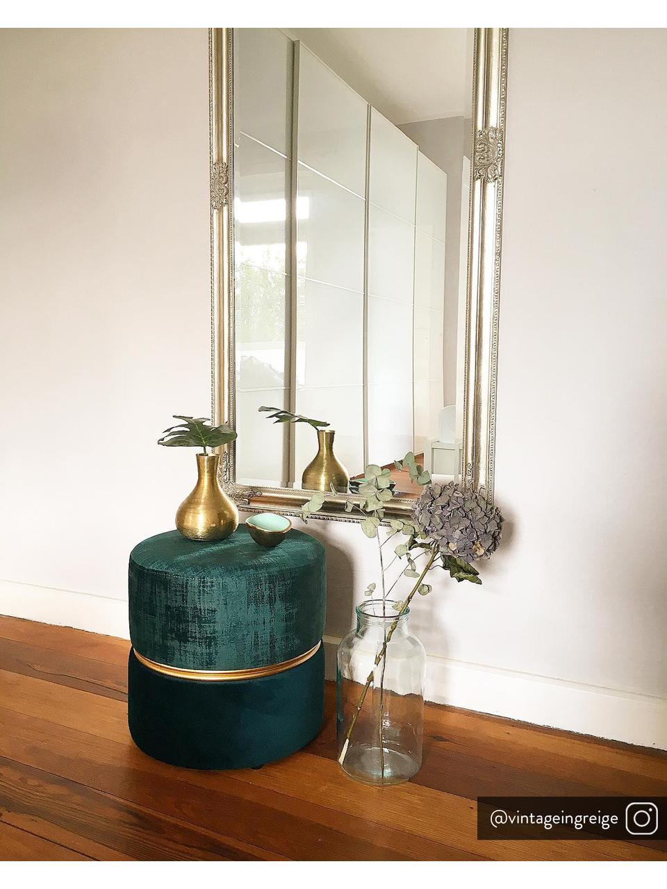Pouf in velluto Bubbly, Rivestimento: velluto di poliestere 20., Struttura: pannello di fibra a media, Tonalità verde, Ø 35 x Alt. 39 cm