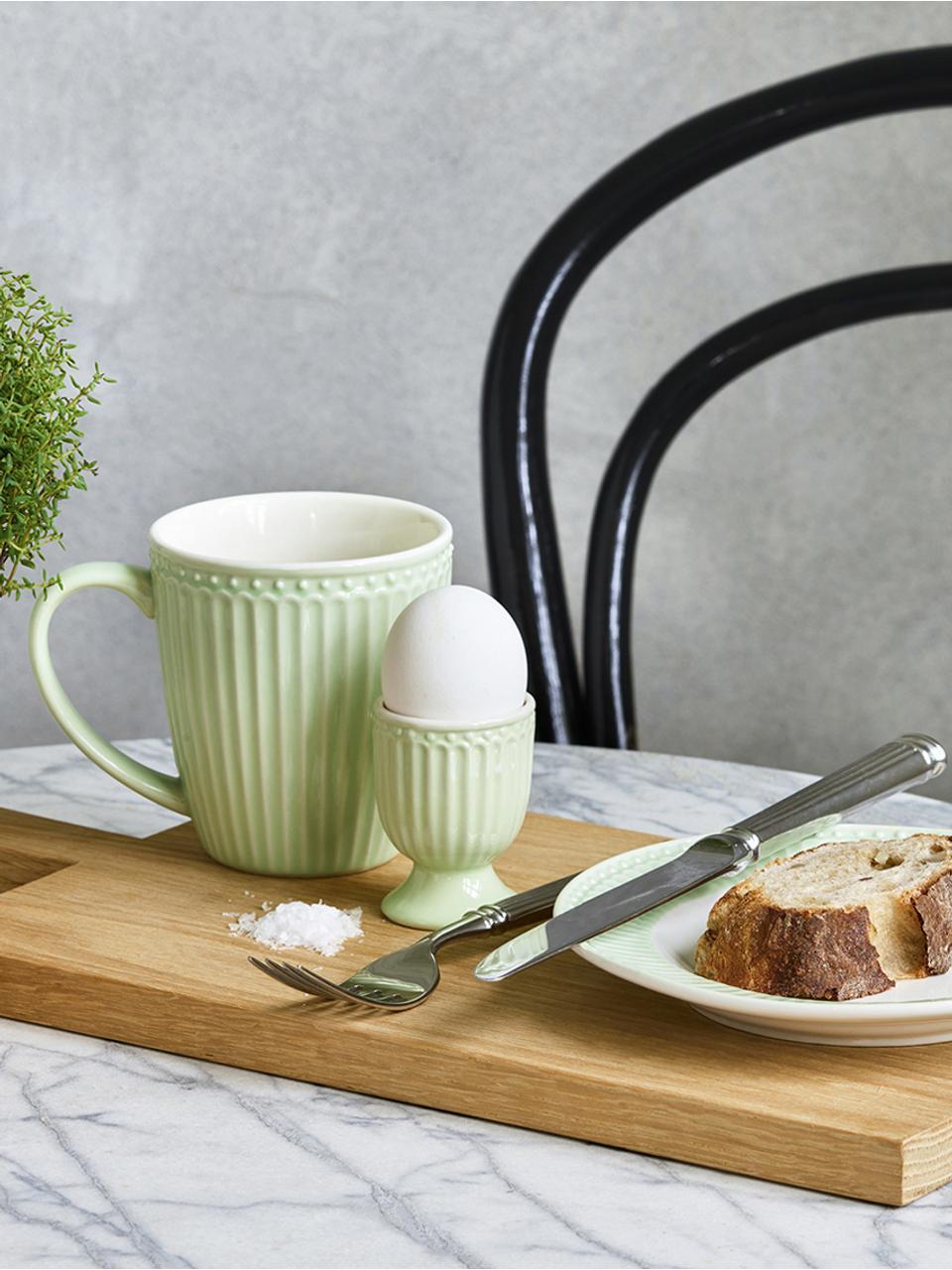 Assiettes à dessert en porcelaine Alice, 2pièces, Vert menthe, blanc