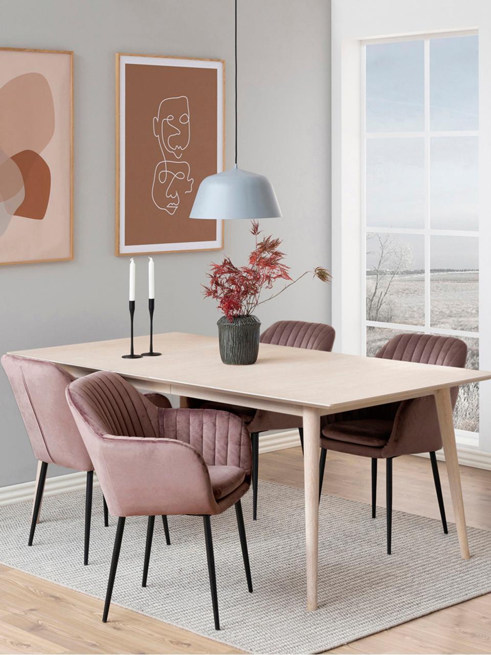 Fluwelen armstoel Emilia, Bekleding: polyester fluweel, Poten: gelakt metaal, Roze, zwart, B 57 x D 59 cm