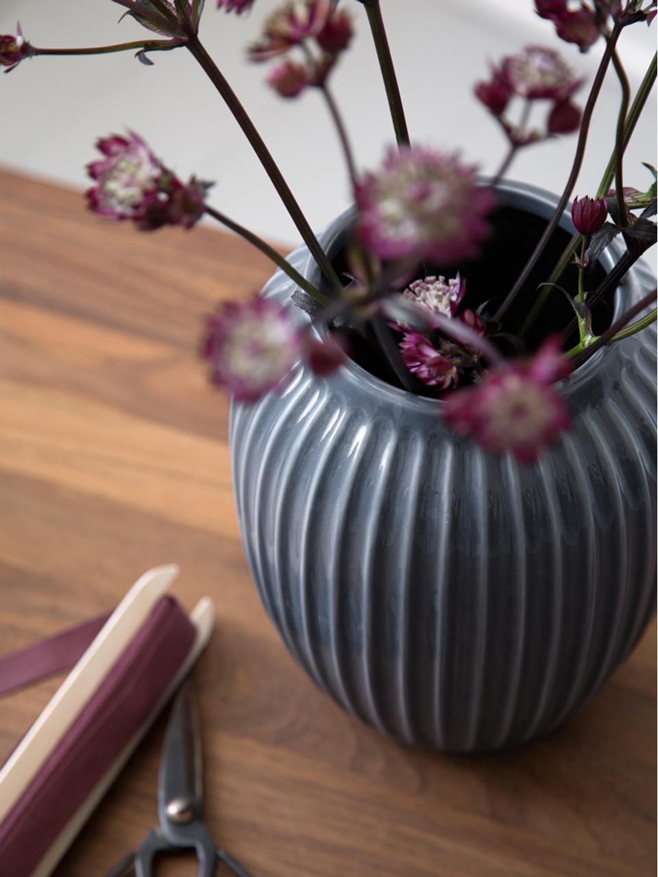 Vaso di design fatto a mano Hammershøi, Porcellana, Antracite, Ø 17 x Alt. 20 cm