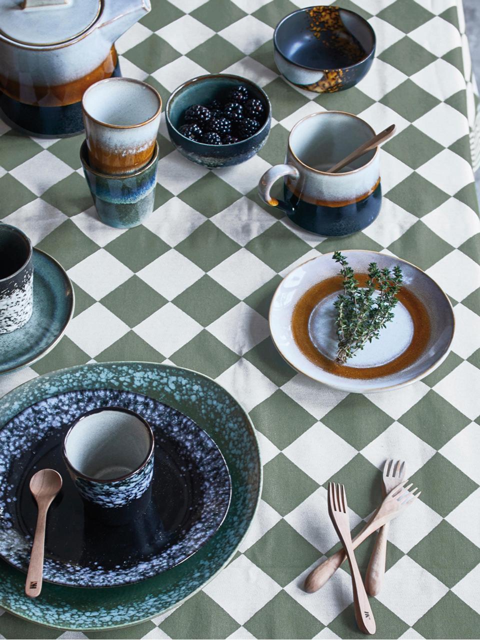 Handgemaakt dessertbord 70's, 2 stuks, Keramiek, Wit, oranje, Ø 18 cm