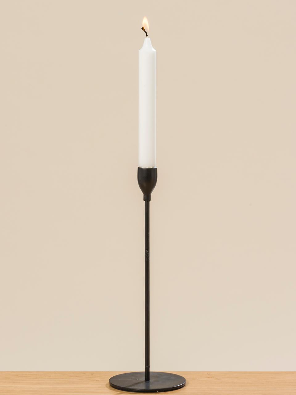 Kandelaarsset Malte, 3-delig, Gecoat metaal, Zwart, Set met verschillende formaten