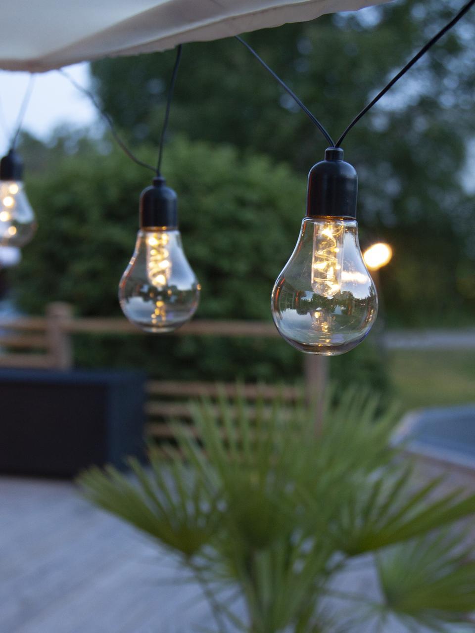 Girlanda świetlna LED Glow, 505 cm i 10 lampionów, Transparentny, czarny, D 505 cm
