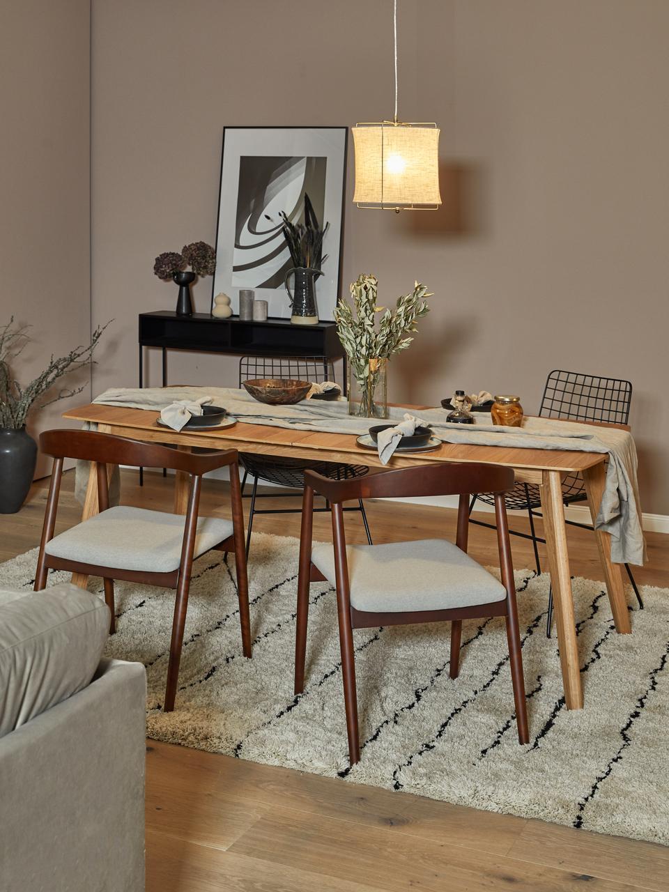 Armstoel Lloyd van donker berkenhout, Bekleding: polyester De bekleding is, Frame: berkenhout, multiplex, Beige, berkenhoutkleurig, B 57 x D 54 cm