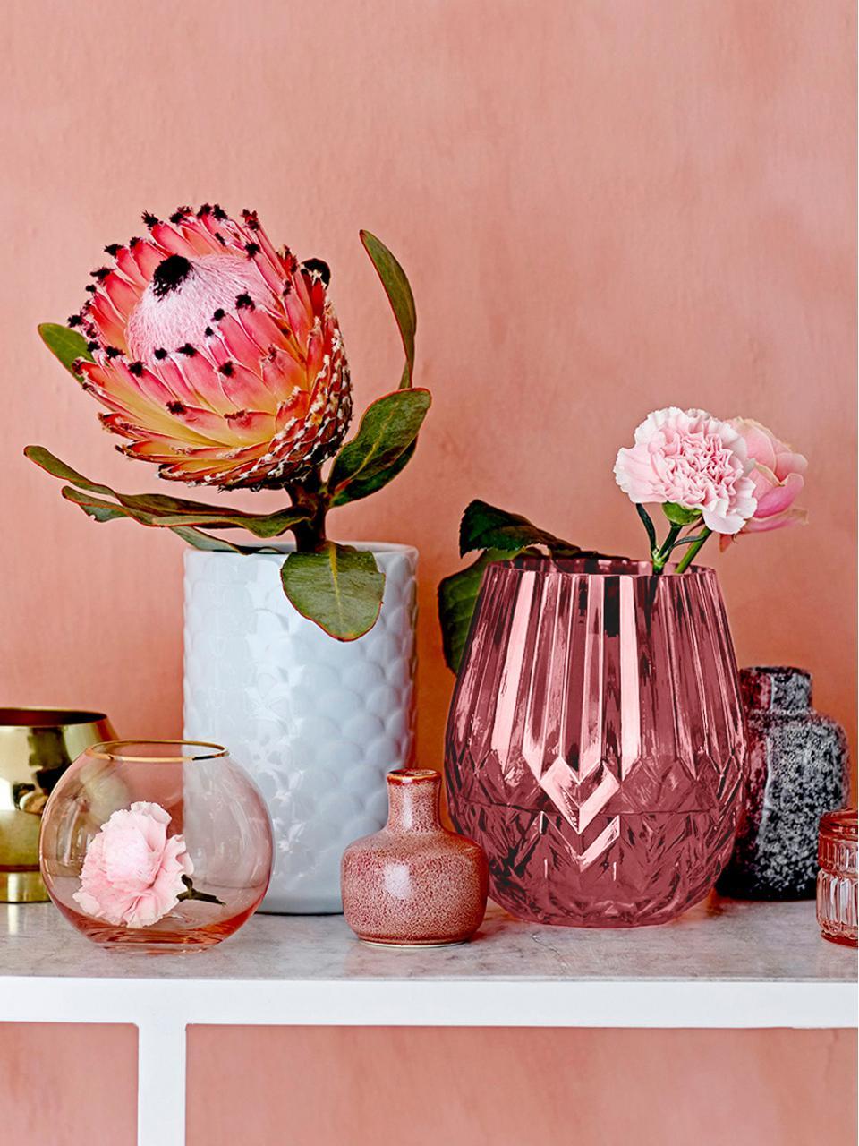 Vaso in vetro Luna, Vetro, Bordeaux, leggermente trasparente, Ø 14 x Alt. 17 cm