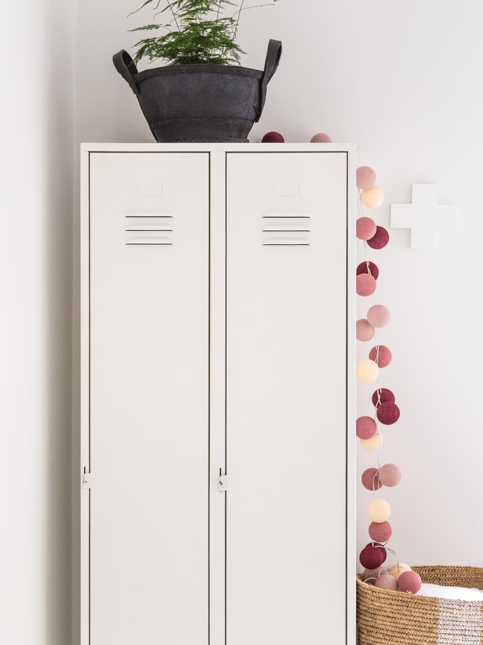 LED-Lichterkette Colorain, 378 cm, 20 Lampions, Cremeweiss, Rosa, Lilatöne, L 378 cm