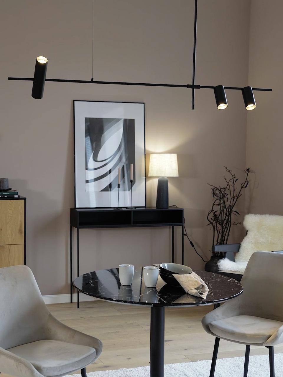 Hanglamp Cassandra, Gepoedercoat metaal, Mat zwart, 143 x 73 cm