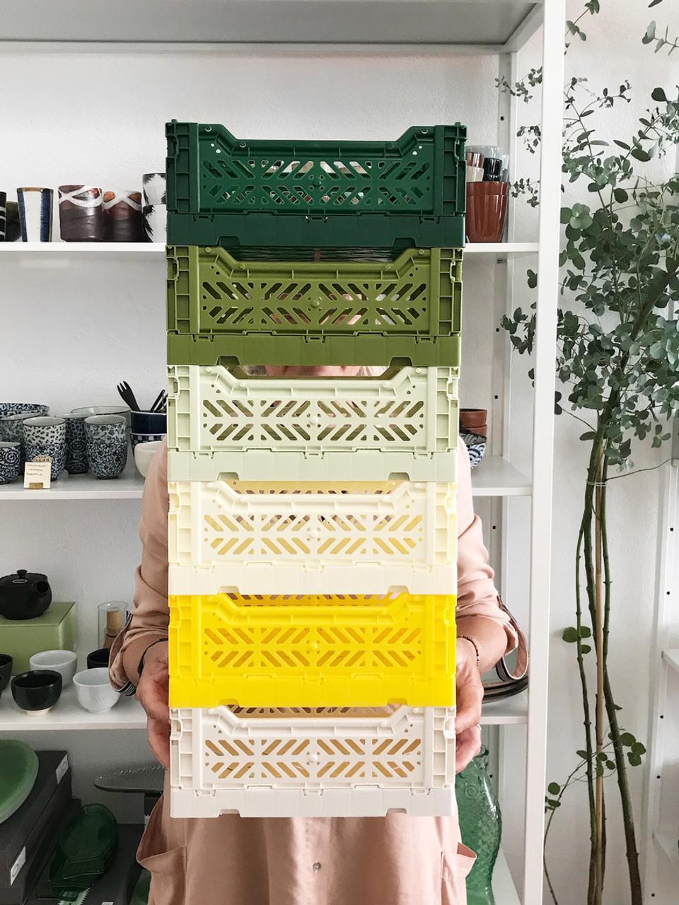 Cesto medio pieghevole e impilabile Melon, Materiale sintetico riciclato, Verde melone, Larg. 40 x Alt. 14 cm