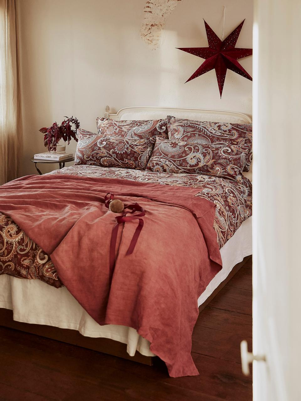 Pościel z bawełny Liana, Bordowy, 240 x 220 cm + 2 poduszki 80 x 80 cm