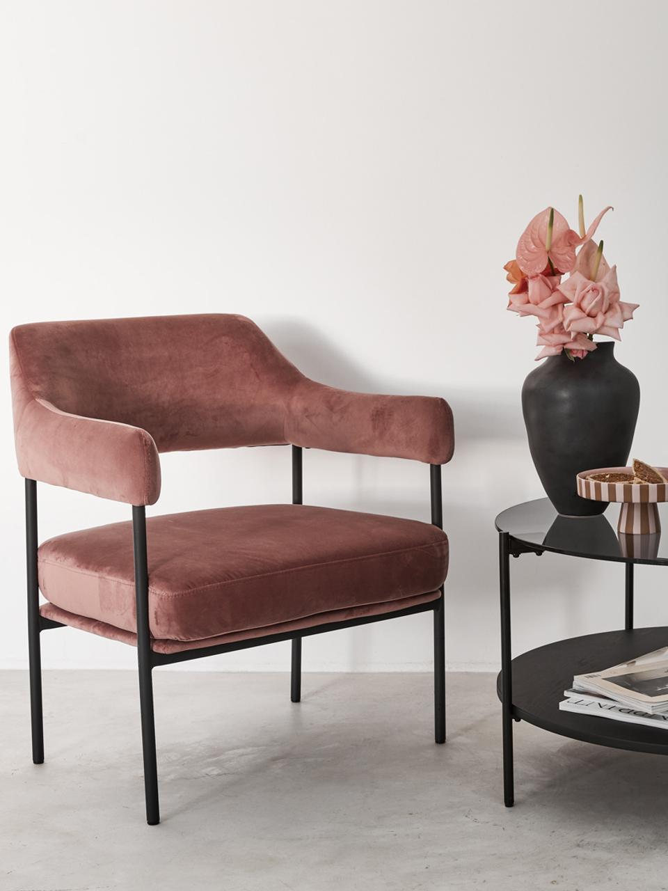 Samt-Loungesessel Zoe in Rosa, Bezug: Samt (Polyester) 50.000 S, Gestell: Metall, pulverbeschichtet, Samt Altrosa, B 67 x T 66 cm