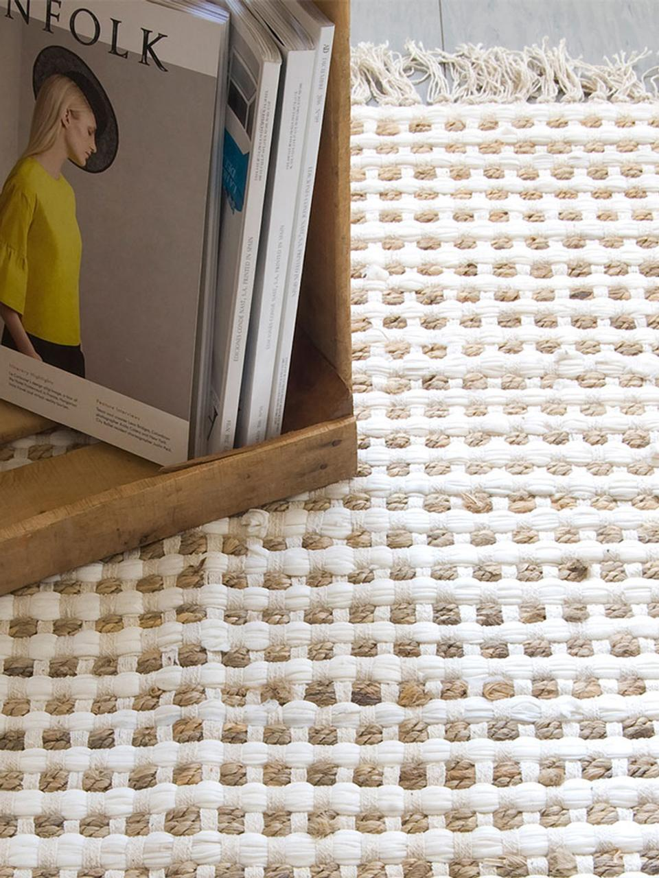 Dywan z bawełny/juty Fiesta, 55% bawełna, 45% juta, Biały, beżowy, S 60 x D 90 cm (Rozmiar XXS)