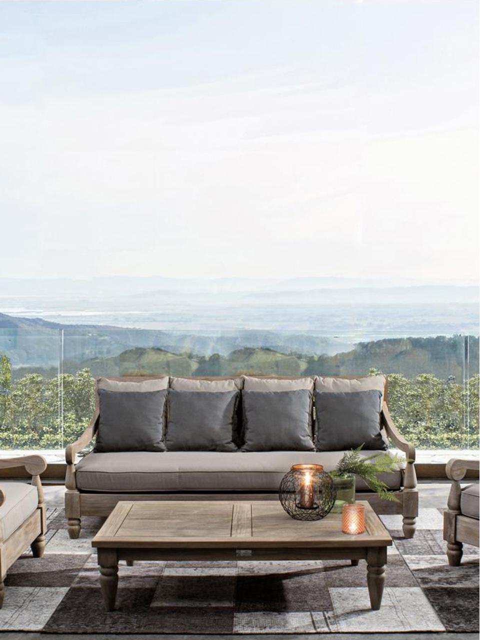 Canapé lounge de jardin 3 places teck Bali, Structure: teck Toile: gris