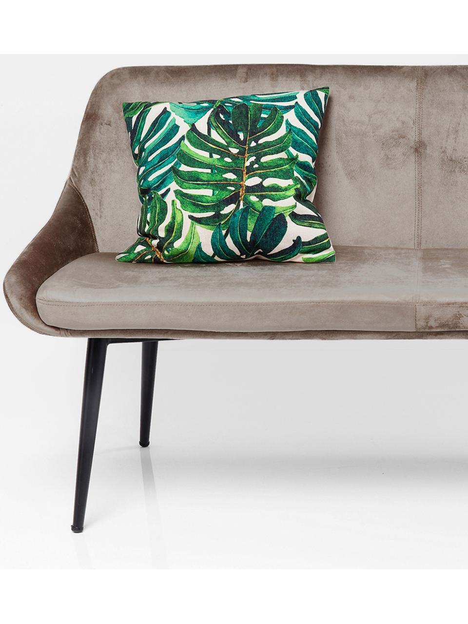 Samt-Sitzbank East Side mit Lehne, Bezug: Polyestersamt 50.000 Sche, Beine: Metall, pulverbeschichtet, Korpus: Furnierschichtholz, natur, Beige, B 154 x T 65 cm