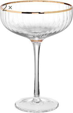 Große Champagnerschalen Golden Twenties mit Goldrand, 2er-Set