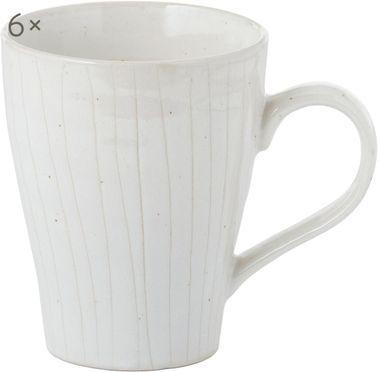 Handgefertigte Tassen Copenhagen mit feinen Streifen, 6 Stück