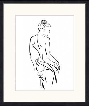 Ingelijste digitale print Naked Woman