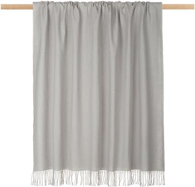 Plaid unicolore gris clair avec franges Madison
