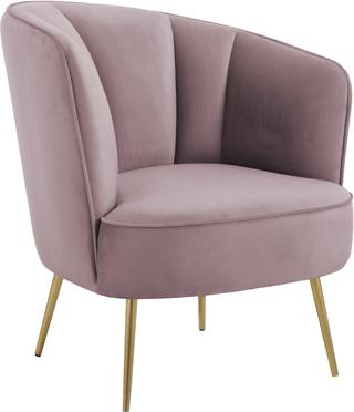Fauteuil cocktail en velours rose Louise