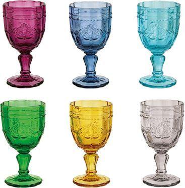 Wijnglazen Syrah in kleur en met structuurpatroon, 6-delig