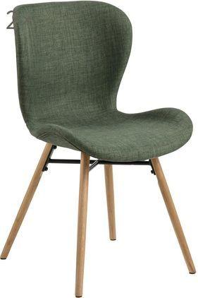 Gestoffeerde stoelen Batilda in scandi design, 2 stuks, Bekleding: polyester, Poten: gelakt en geolied massief, Groen, 56 x 83 cm
