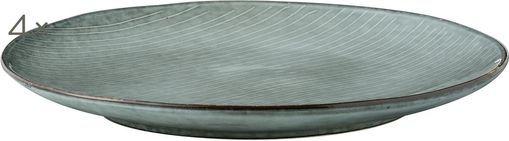 Piatto piano fatto a mano Nordic Sea 4 pz, Terracotta, Tonalità grigie e blu, Ø 26 cm