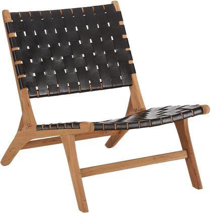 Leren loungefauteuil Coffee met houten frame, Frame: natuurlijk teakhout, Teakhoutkleurig, zwart, B 63  x D 75 cm