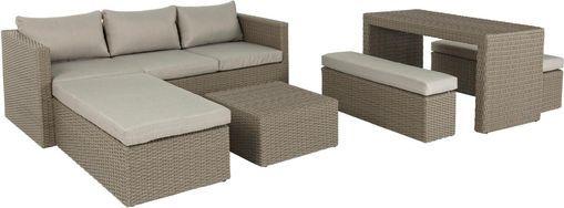 Tuin loungeset Platea, 6-delig, Frame: synthetische vezels, Bekleding: polyester, Beige, bruin, Verschillende formaten
