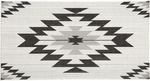 In- & Outdoorteppich Ikat, Flor: Polypropylen, Cremeweiß, Schwarz, Grau, B 80 x L 150 cm (Größe XS)
