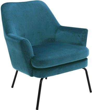 Fauteuil lounge en velours Chisa, Bleu marine