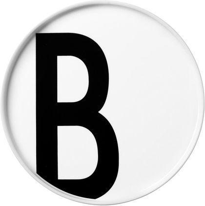 Teller Personal (Varianten von A bis Z), Fine Bone China, Weiß, Schwarz, Teller B