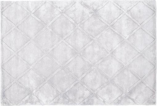 Handgetuft viscose vloerkleed Madeleine, Bovenzijde: 100% viscose, Onderzijde: 100% katoen, Lichtgrijs, 120 x 180 cm