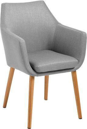 Armlehnstuhl Nora im Skandi Design, Bezug: 100% Polyester, Beine: Eichenholz, Bezug: Hellgrau<br>Gestell: Eichenholz, 58 x 84 cm