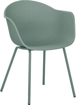 Kunststoff-Armlehnstuhl Claire mit Metallbeinen, Sitzschale: Kunststoff, Beine: Metall, pulverbeschichtet, Grün, B 61 x T 58 cm