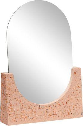 Make-up spiegel Gile, Spiegel: spiegelglas. Voet: koraalkleurig met multicolour elementen