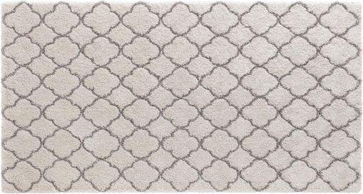 Hoogpolig vloerkleed Grace in crème-grijs, Bovenzijde: polypropyleen, Onderzijde: jute, Crèmekleurig, grijs, 80 x 150 cm
