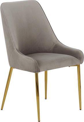 Samt-Polsterstuhl Ava mit goldfarbenen Beinen, Bezug: Samt (100% Polyester) 50., Beine: Metall, galvanisiert, Taupe, B 53 x T 60 cm