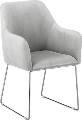 Sedia con braccioli in velluto Isla, Rivestimento: velluto (poliestere) 50.0, Gambe: metallo rivestito, Grigio chiaro, Larg. 58 x Prof. 62 cm