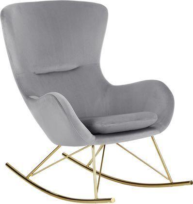 Sedia a dondolo in velluto Wing, Rivestimento: velluto (poliestere) 15.0, Struttura: metallo, zincato, Grigio, Lung. 77 x Prof. 96 cm