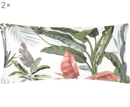 Perkal-Kissenbezüge Tropicana mit tropischem Print, 2 Stück