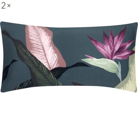 Baumwollsatin-Kissenbezüge Flora, 2 Stück