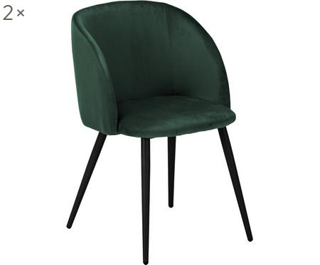 Fluweel gestoffeerde stoel Yoki, 2 stuks