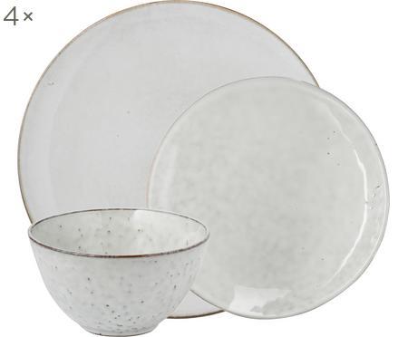 Ręcznie wykonany komplet z  porcelany Nordic Sand, 12 elem.