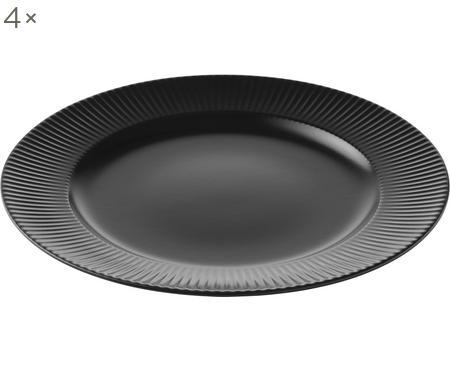 Assiettes plates à rainures Groove, 4 pièces