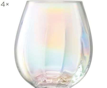 Mondgeblazen waterglazen Pearl met glinsterende paarlemoer glans, 4-delig