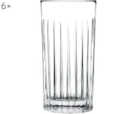 Kristall-Longdrinkgläser Timeless mit Rillenstruktur, 6er-Set