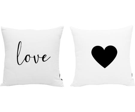 Housses de coussin en noir et blanc Love, 2élém.