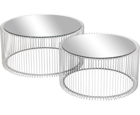 Set de mesas de centro Wire, 2pzas., tablero de cristal