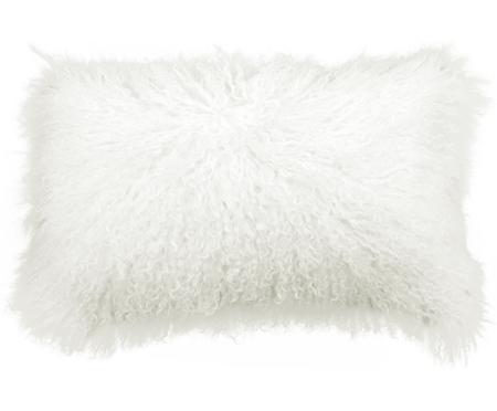 Povlak na polštář z jehněčí kůže sdlouhým vlasem Ella, kudrnatý