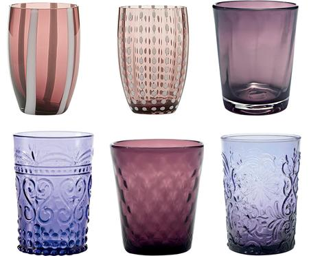 Vasos de vidrio soplado Melting Pot Berry, 6 uds.