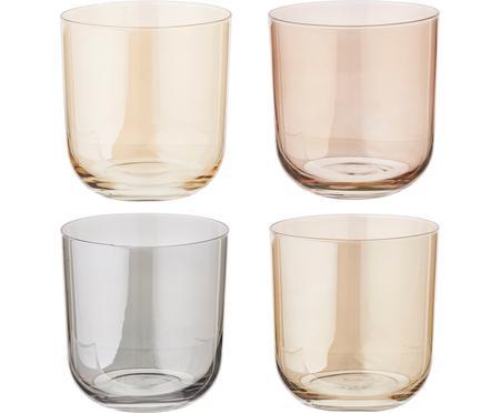 Bicchiere acqua dipinto a mano Polka, set di 4